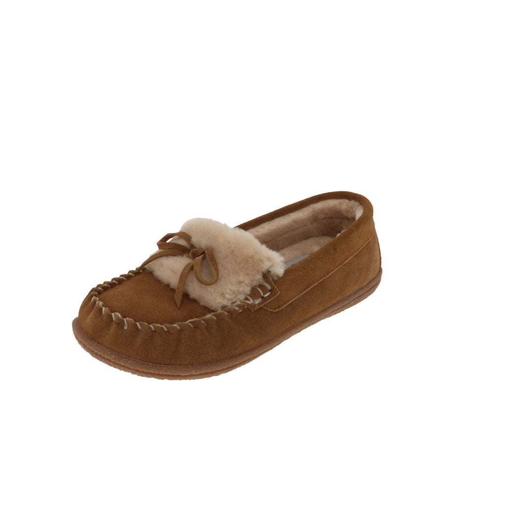 Janis Chestnut-Closed Back-Foamtreads-Chestnut-6-Foamtreads canada ladies women women's slipper slippers shoe shoes closed back genuine leather suede contrast plush cuff memory foam medium indoor outdoor cozy moccasin comfy stylish