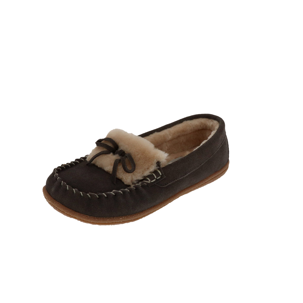 Janis Grey-Closed Back-Foamtreads-Grey-6-Foamtreads canada ladies women women's slipper slippers shoe shoes closed back genuine leather suede contrast plush cuff memory foam medium indoor outdoor cozy moccasin comfy stylish