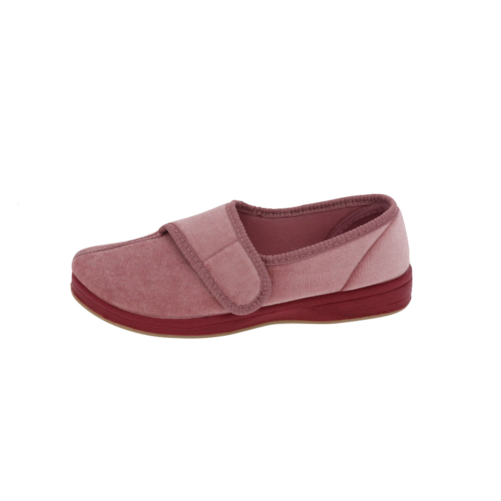 Jewel Dusty Rose-Women's Heritage-Foamtreads-Foamtreads Canada Slipper Slippers Ladies Women Women's Embossed FT Velour Nylex lining insole Polyester blend Medium Wide Classic adjustable hook and loop strap velcro strap shoe
