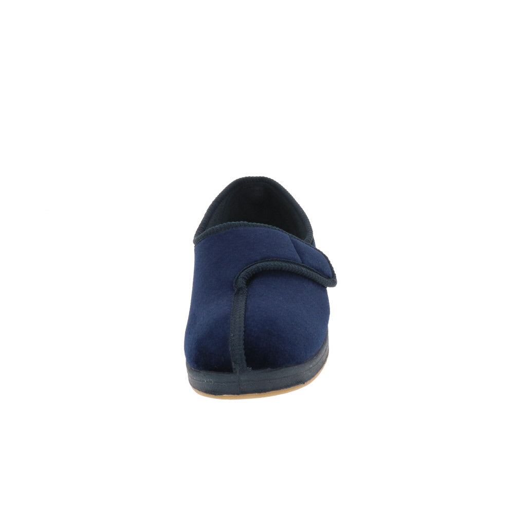 Jewel Navy-Women's Heritage-Foamtreads-Foamtreads Canada Slipper Slippers Ladies Women Women's Embossed FT Velour Nylex lining insole Polyester blend Medium Wide Classic adjustable hook and loop strap velcro strap shoe