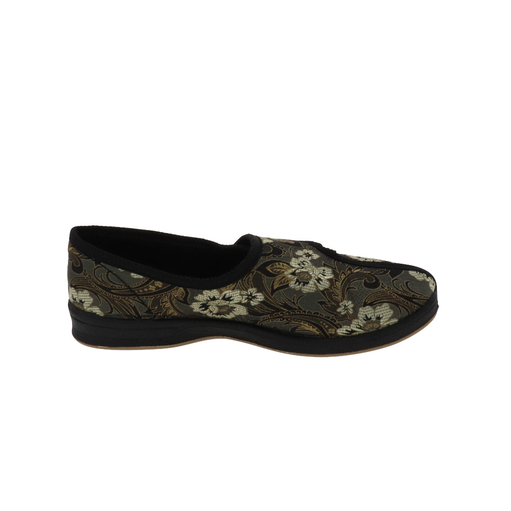 Jewel Printed Flower-Women's Heritage-Foamtreads-Foamtreads Canada Slipper Slippers Ladies Women Women's Embossed FT Velour Nylex lining insole Polyester blend Medium Wide Classic adjustable hook and loop strap velcro strap shoe