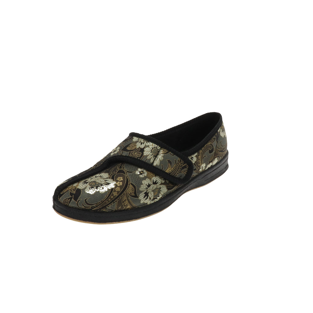 Jewel Printed Flower-Women's Heritage-Foamtreads-Medium-5.5-Foamtreads Canada Slipper Slippers Ladies Women Women's Embossed FT Velour Nylex lining insole Polyester blend Medium Wide Classic adjustable hook and loop strap velcro strap shoe