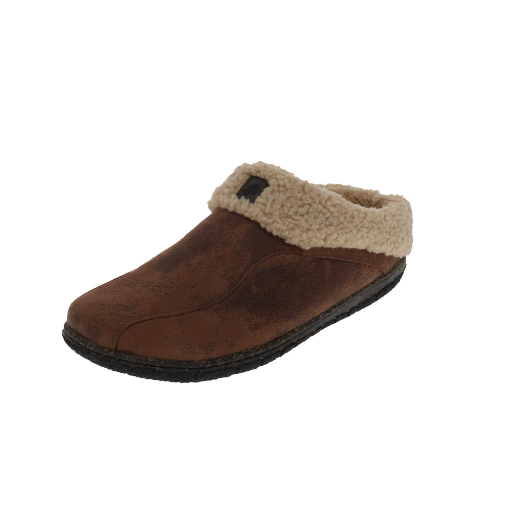 Lucas Brown-Slip On-Foamtreads-Brown-7-Foamtreads Slipper Men Slip On lightweight distressed faux leather boa lining and collar removable padded insole medium