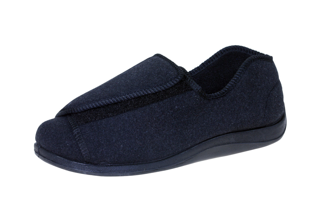 Doctor Charcoal-Foamtreads-7-Extra Depth-Foamtreads Medical Slipper Slippers Men Men's Wool Blend 3 way adjustable hook and loop velcro straps strap nylex lining removable leather insole with memory foam extra depth doc swollen feet popular top seller diabetic