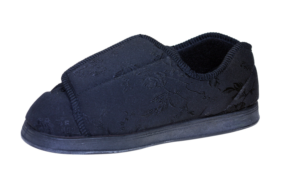 Nurse Black-Foamtreads-Black Satin Print-Extra Depth-6-Foamtreads Medical Canada slipper slippers shoe shoes ladies women women's print wool blend 3 way adjustable hook and loop strap velcro strap nylex lining removable leather insole with memory foam extra depth custom fit comfort diabetic
