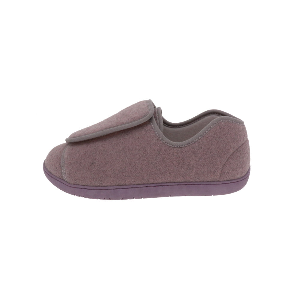 Nurse 2 Lilac Wool-Women's Specialty-Foamtreads-Foamtreads Medical Canada slipper slippers shoe shoes ladies women women's print wool blend 3 way adjustable hook and loop strap velcro strap nylex lining removable leather insole with memory foam extra depth custom fit comfort diabetic