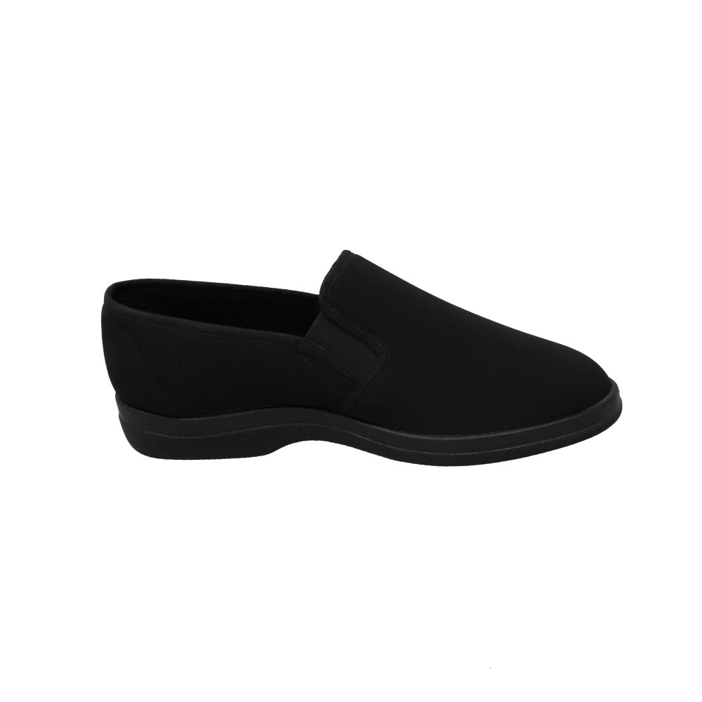 Raymond Black-Closed Back-Foamtreads-Foamtreads Slipper Men's Men Made in Spain Mesh and Stretch Fabric Dual Gore Nylex lining Anti-bacterial padded removable footbed Medium comfort