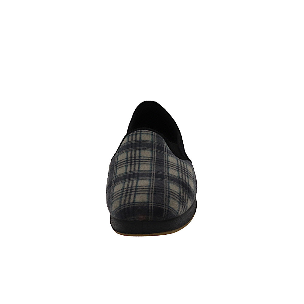 Reuben Grey-Closed Back-Foamtreads-Foamtreads Slipper Men Plaid Print Twin Gore Medium Wide Plaid Fabric Micro Suede Nylex Lining Polyester Blend upper lining