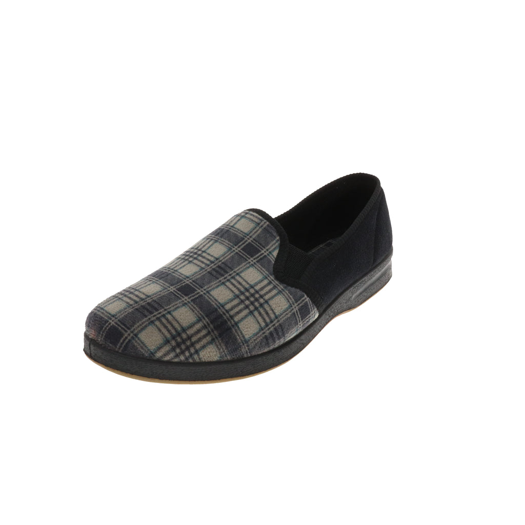 Reuben Grey-Closed Back-Foamtreads-Medium-7.5-Foamtreads Slipper Men Plaid Print Twin Gore Medium Wide Plaid Fabric Micro Suede Nylex Lining Polyester Blend upper lining