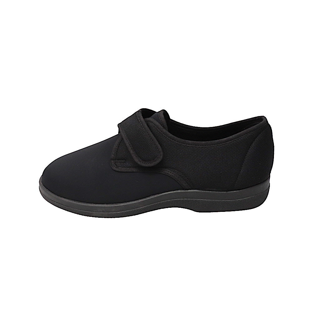 Steve Black-Closed Back-Foamtreads-Foamtreads Made in Spain Mesh and Stretch Fabric Anti-bacterial padded removable footbed adjustable hook & loop strap Medium slipper swollen feet custom fit