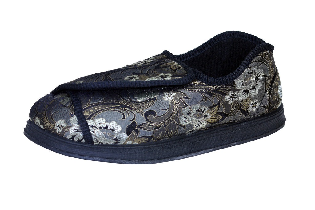 Nurse Printed Flower-Foamtreads-5.5-Extra Depth-Printed Flower Satin Print-Foamtreads Medical Canada slipper slippers shoe shoes ladies women women's print wool blend 3 way adjustable hook and loop strap velcro strap nylex lining removable leather insole with memory foam extra depth custom fit comfort diabetic