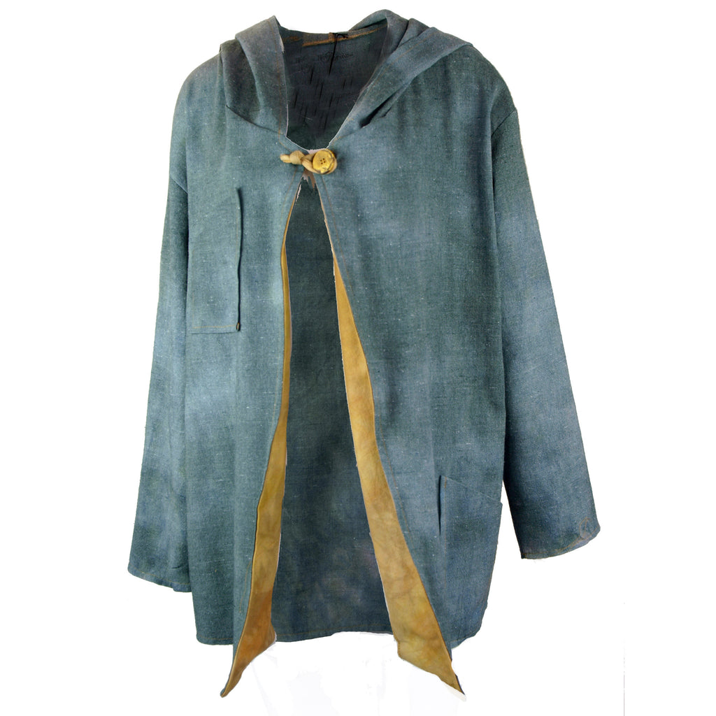 Hooded jacket in soft blue grey