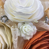 Accessories in paper flower bouquet