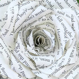 Pages cut from Harry Potter book created to make a paper rose