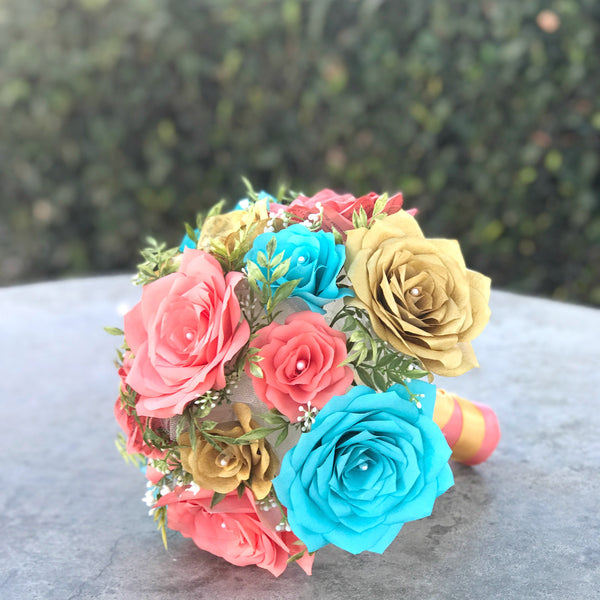 Bridal Bouquet in Gold, Turquoise and Coral Paper Flowers and Book Page Roses - Colors are Customizable