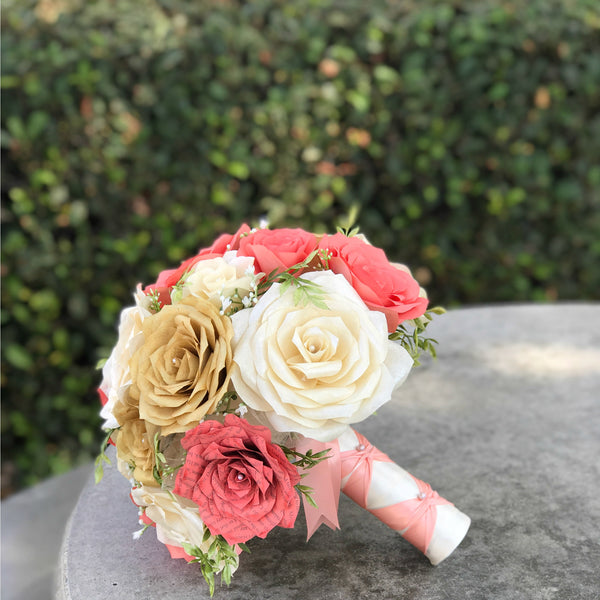 coral gold ivory paper rose bridal bouquet