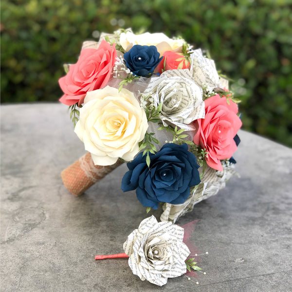 bouquet in coral and navy blue paper flowers with matching boutonniere