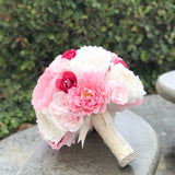 Pink and ivory crepe paper flower bouquet