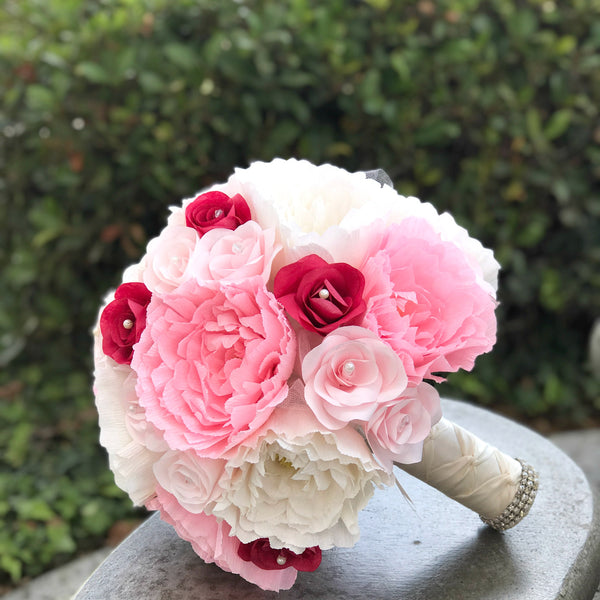 pink and ivory peony and rose bridal bouquet
