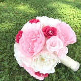 crepe paper flower bouquet in pink, fuchsia and cream