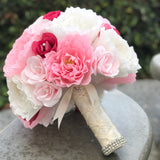 Bridal Bouquet of paper flowers with ivory satin ribbon handle