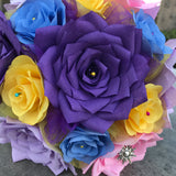 close up of paper flower bouquet