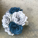 Grey and Navy Sheet Music Flower Bouquet