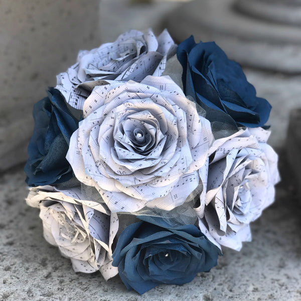Paper rose music note bouquet shown in navy blue and grey centertwine paper rose music note bouquet shown in navy blue and grey mightylinksfo