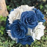 Book Page Paper Rose Bridal Bouquet in Navy Blue and Natural Colors Makes A Great Alternative Wedding Bouquet