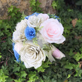 pink and blue book paper rose bouquet