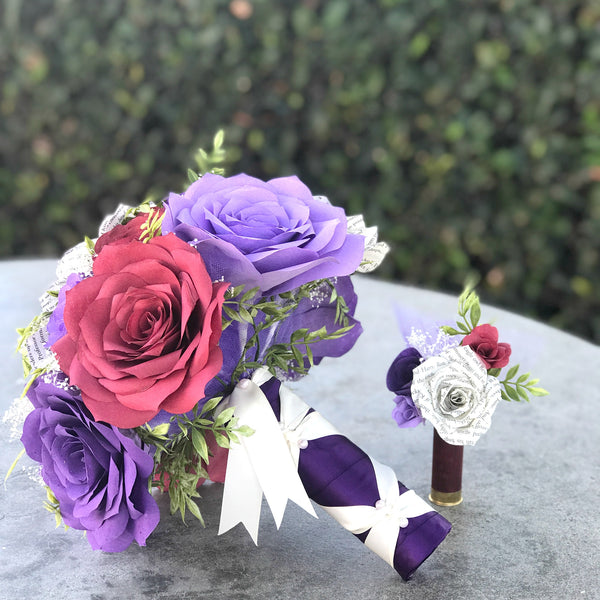 Wedding Bouquet in Purple, Lavender & Burgundy Paper Flowers and Book Page Roses - Colors are Customizable