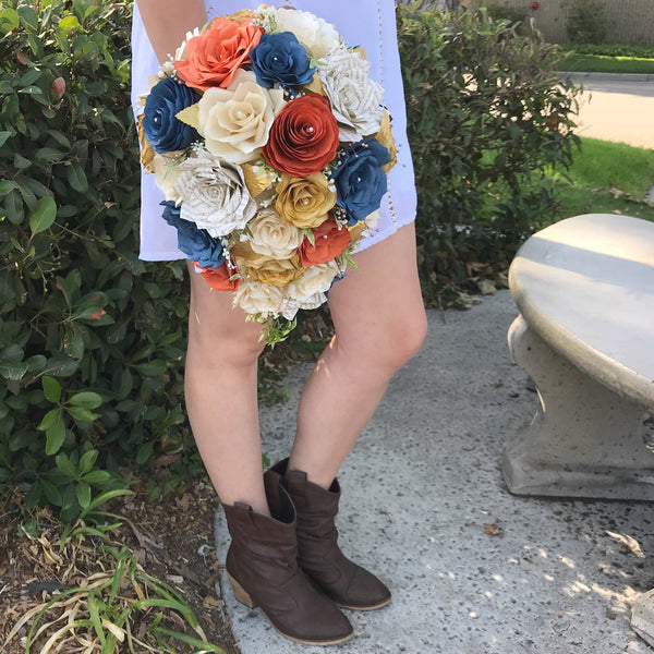 country book flower teardrop bouquet