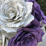 Paper book page wedding bouquet using handmade wisteria purple paper roses - Alternative bouquet - Keepsake bridal bouquet