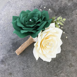 Paper Rose Corsage/Boutonniere in green and ivory
