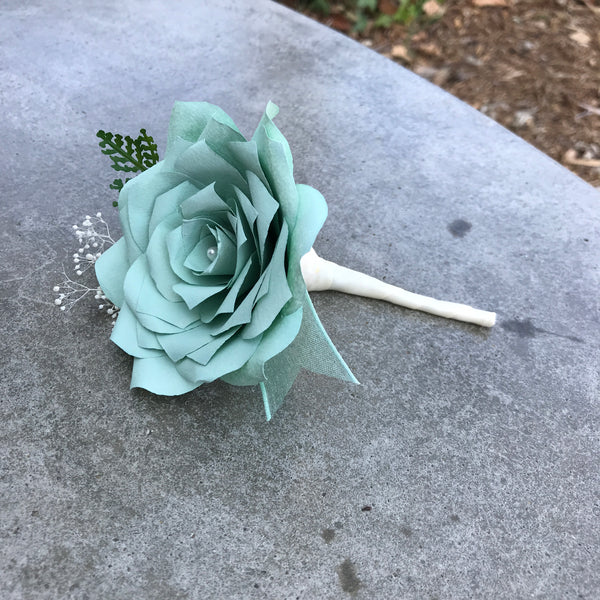 Mint Green Paper Flower Boutonniere - Wedding boutonniere