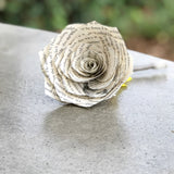 Sunflower Book Page Boutonniere - Choose Your Ribbon Color