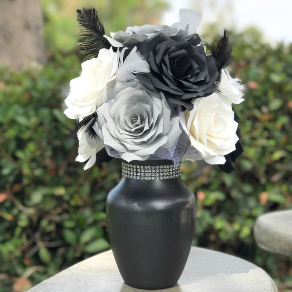 Centerpiece in Black, Gray & White Paper Roses - Reception Table Decor