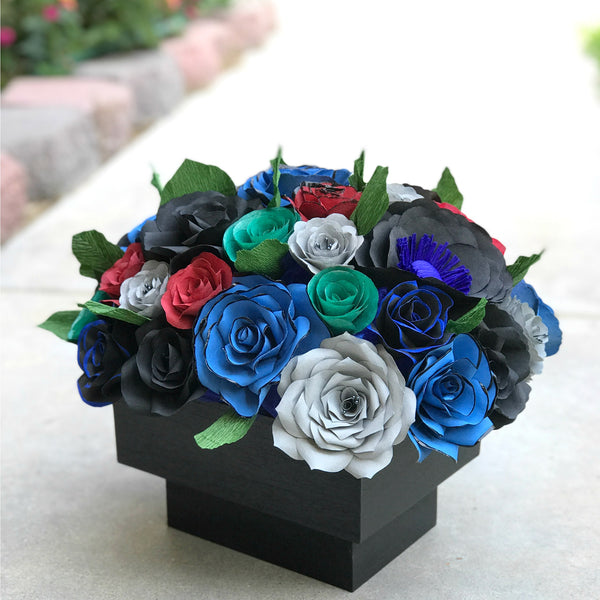 Centerpiece in black blue red gray and green handcrafted paper centerpiece in black blue red gray and green handcrafted paper flowers mightylinksfo