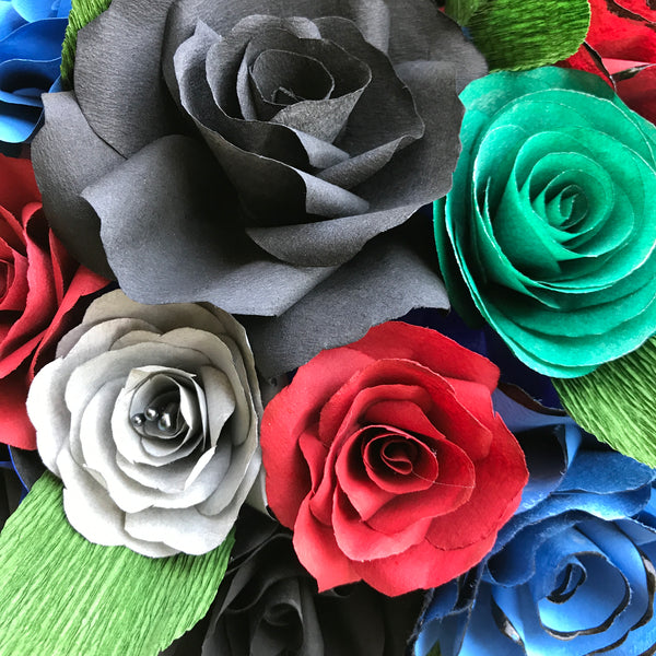 Centerpiece In Black Blue Red Gray And Green Handcrafted Paper