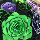 Centerpiece in Black & Lime Green and Purple Handcrafted Paper Flowers for a Wedding or Event Table