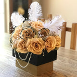 Centerpiece in Black and Gold Handcrafted Paper Flowers - Black and Gold Floral Arrangement