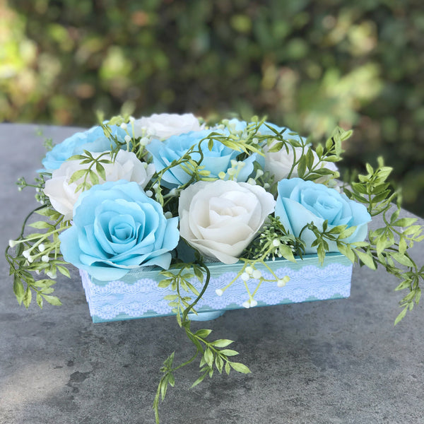 Paper flower wedding centerpiece ice blue and white