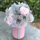 Pink & Silver Paper Flower Shabby chic Floral Arrangement - Pink and Silver Holiday Decor