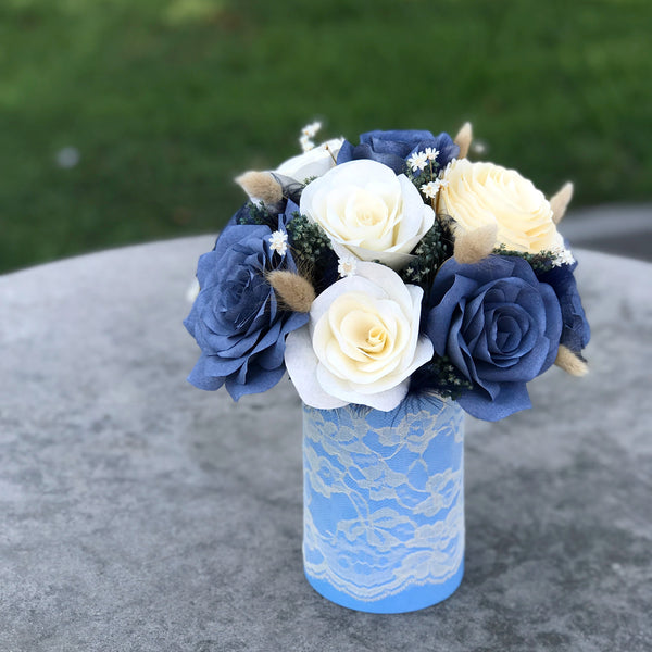 Smokey Blue Paper Flower Centerpiece