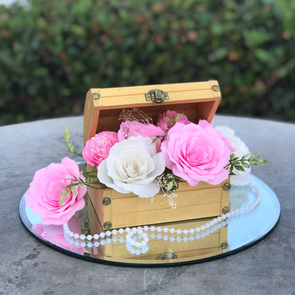 Wood Chest Centerpiece Using Pink & White Paper Flowers - Colors Are Customizable