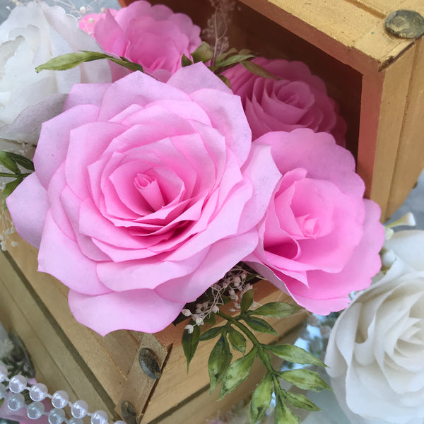 Wood chest centerpiece using pink white paper flowers colors are wood chest centerpiece using pink white paper flowers colors are customizable mightylinksfo