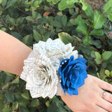 Book Page Paper Rose Corsage in Natural and Cobalt Blue - Colors are Customizable