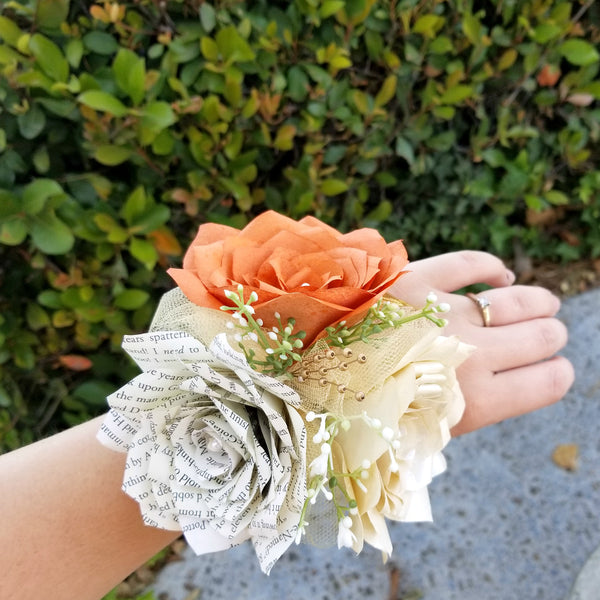 Corsage in Burnt Orange, Ivory and Book Page Paper Roses