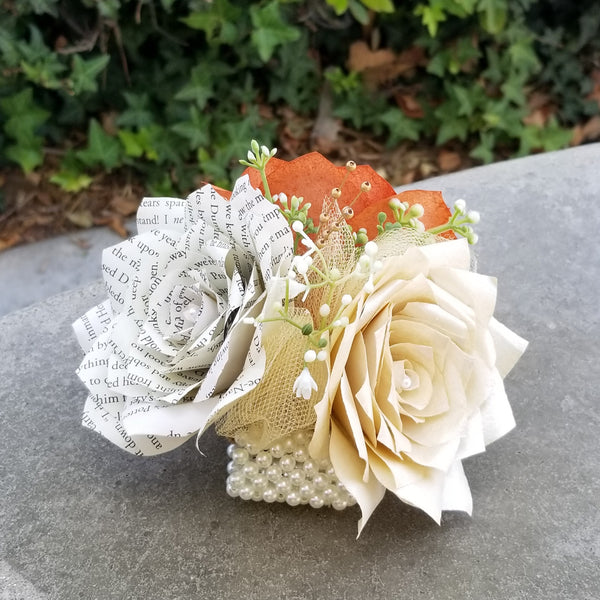 Corsage In Burnt Orange Ivory And Book Page Paper Roses Centertwine