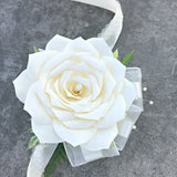 Ivory Paper Flower Corsage - Wristlet Wedding Corsage